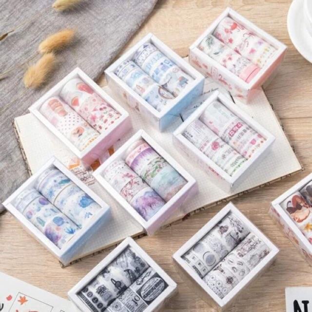 Băng dính washi trang trí đồ handmade - Hộp 10 cuộn_S197