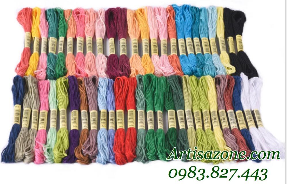 Bộ chỉ thêu tay 100 tép (dài 8 mét 1 màu) - Sợi cotton màu trơn khác nhau_PKM29