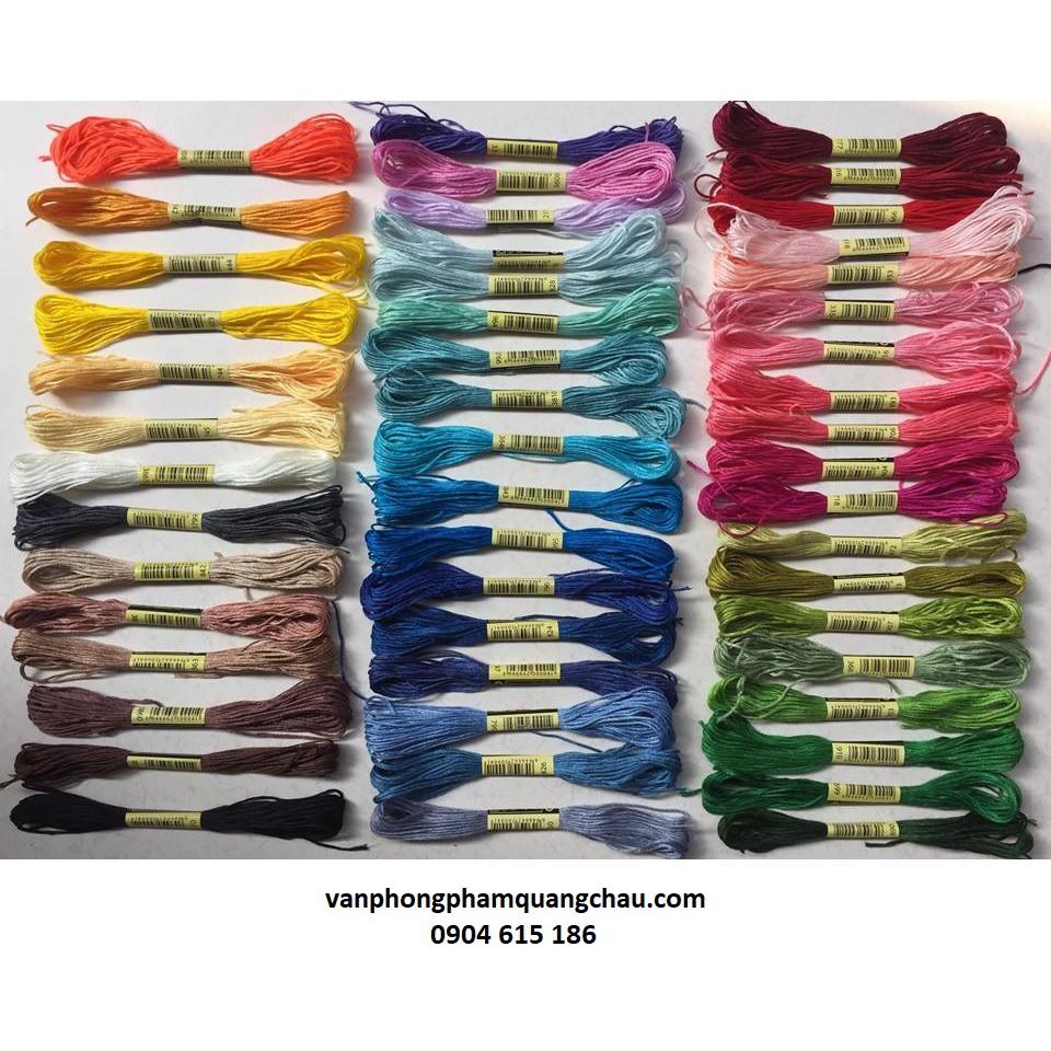 Bộ chỉ thêu tay 50 tép (dài 8 mét 1 màu) - Sợi cotton màu trơn_ PKM37