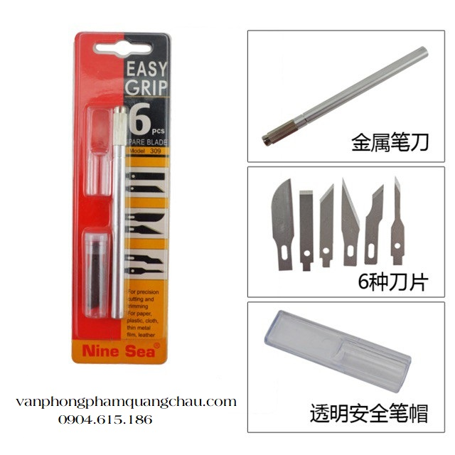 Bộ dụng cụ cắt, tỉa mô hình giấy - Easy grip 9sea - (Kèm 06 lưỡi dao)_CT11.2