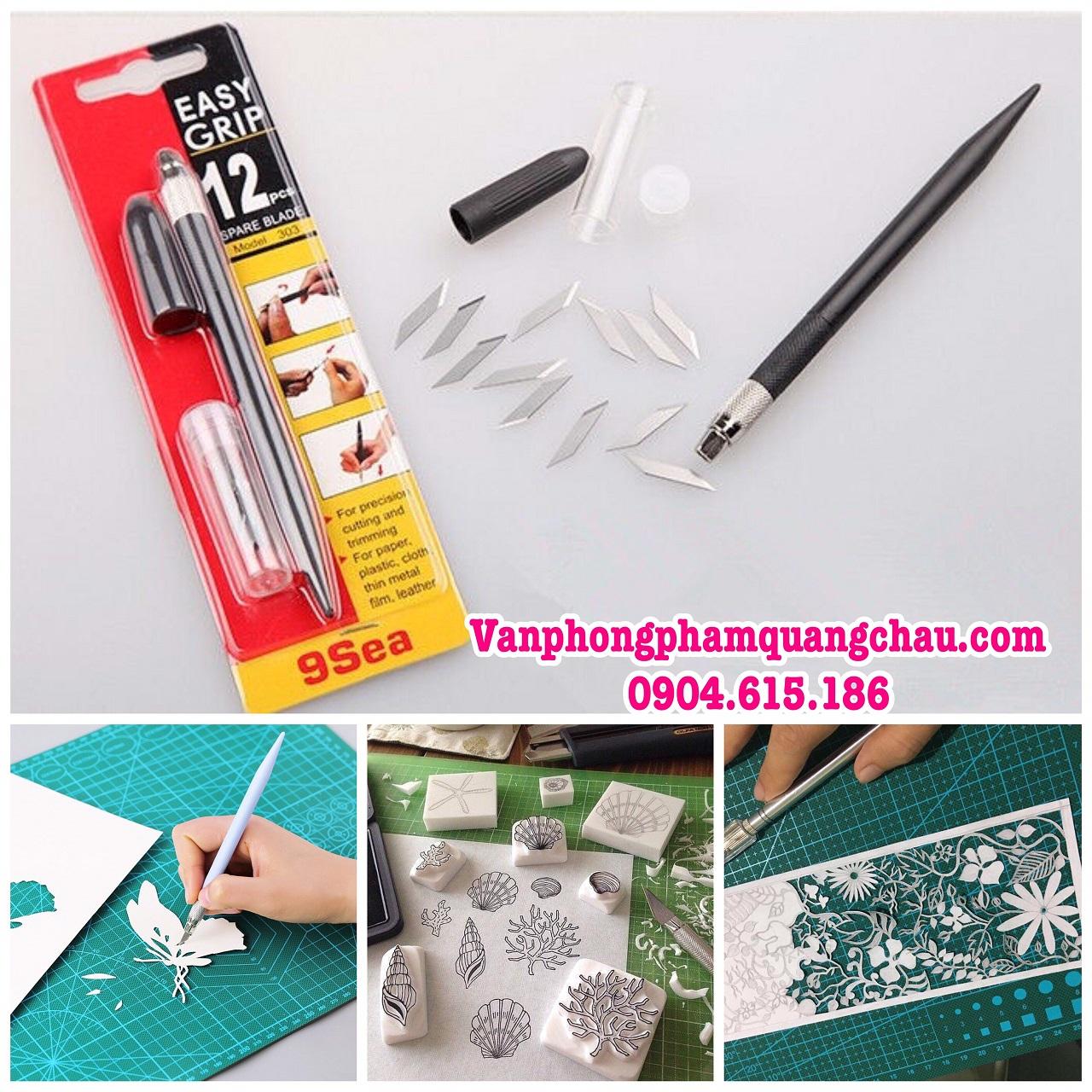 Bộ dụng cụ cắt, tỉa mô hình giấy, cao su - Easy grip 9sea - (Kèm 12 lưỡi dao)_CT11