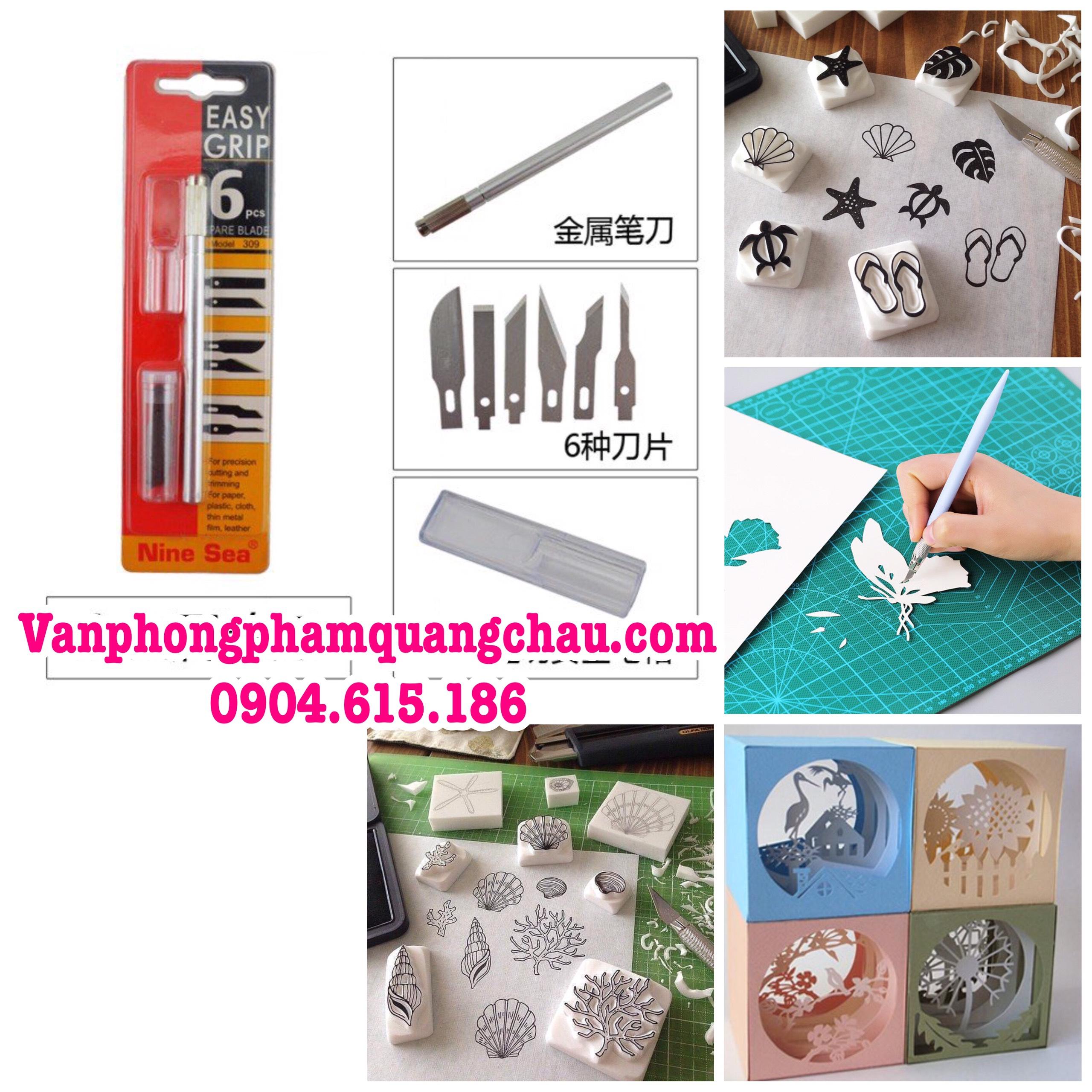 Bộ dụng cụ cắt, tỉa mô hình giấy, cao su - Easy grip 9sea - (Kèm 06 lưỡi dao)_CT11.2