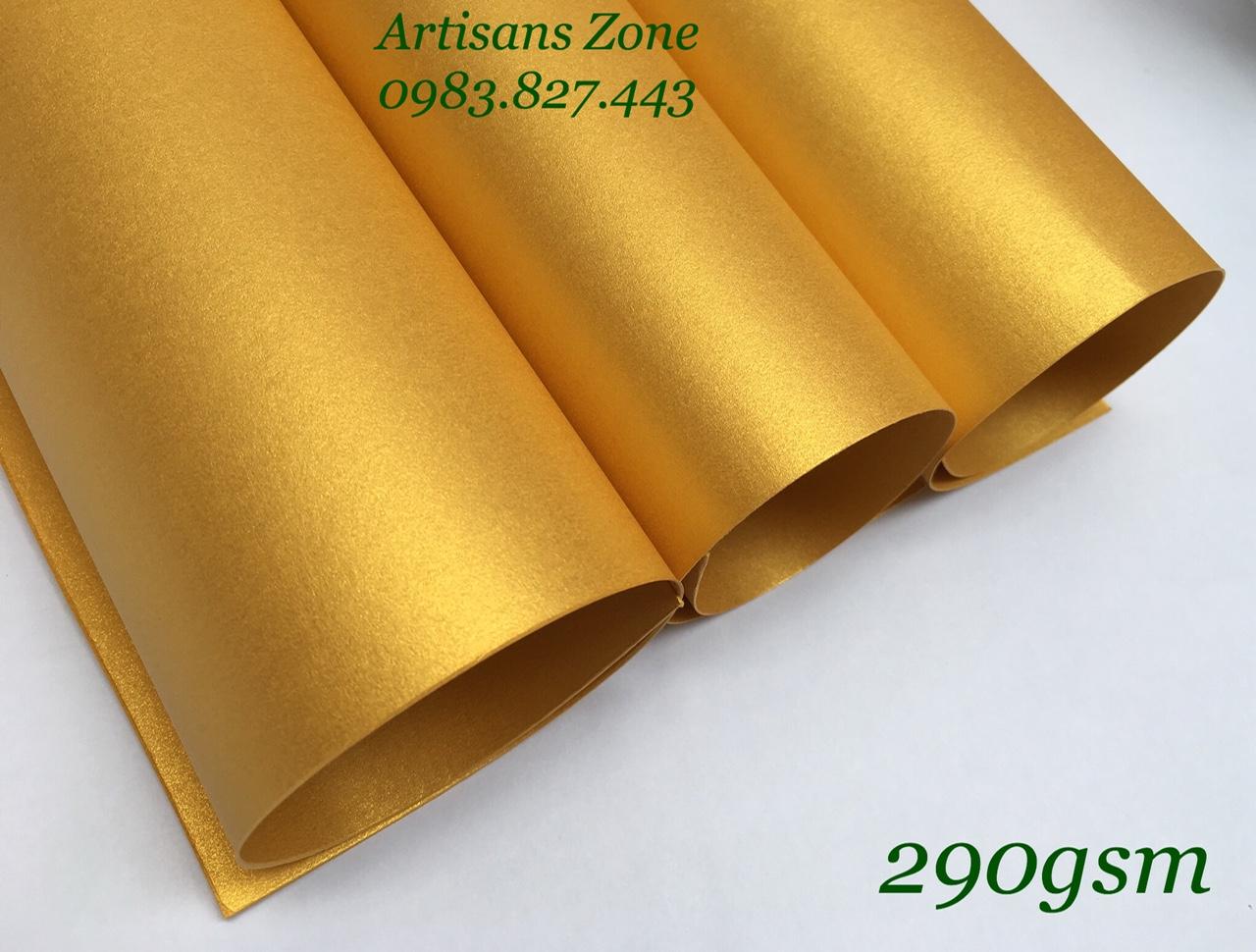 Giấy mỹ thuật nhũ vàng, kích thước 35cm x 50cm (định lượng 290gsm) - Set 4 tờ _GHM52