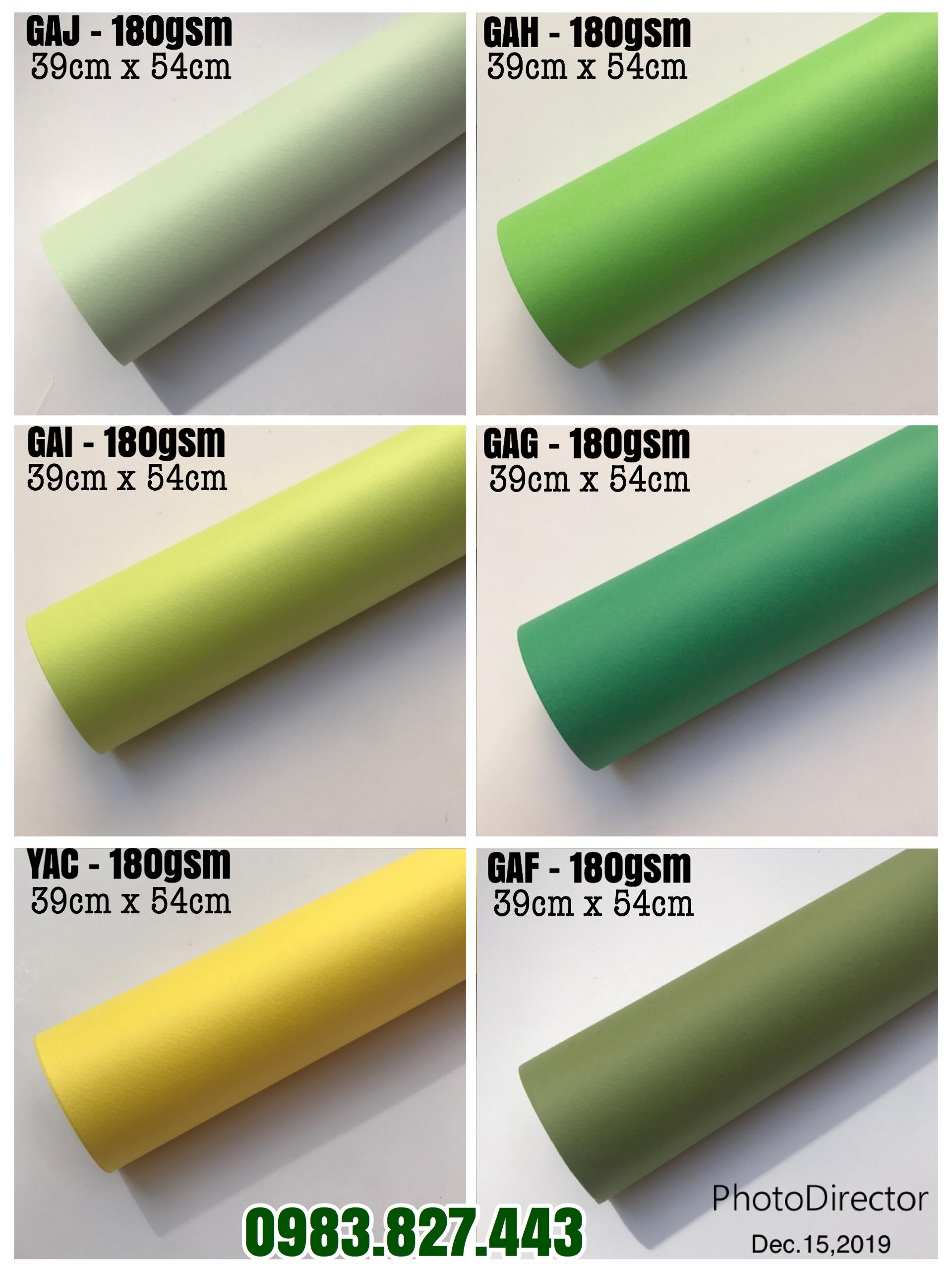 Giấy mỹ thuật tông màu xanh lá (định lượng 165gsm - 180gsm) - Set 06 tờ_GHM105