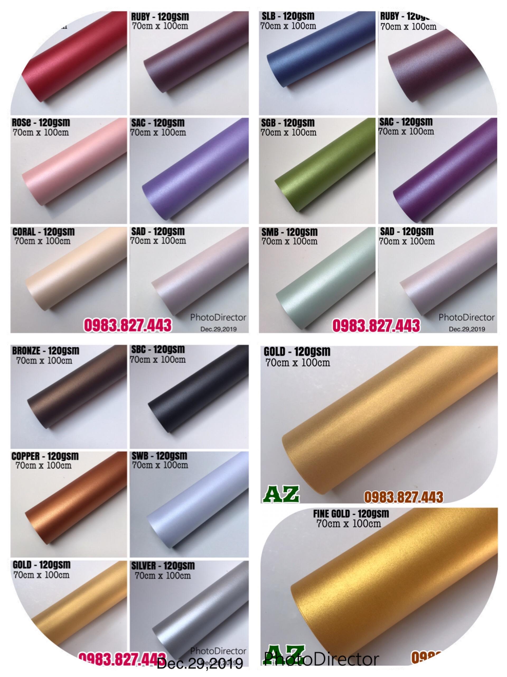 Giấy mỹ thuật ánh kim (định lượng 120gsm) - KT: 70cm x 100cm - Set 10 tờ_GHM01