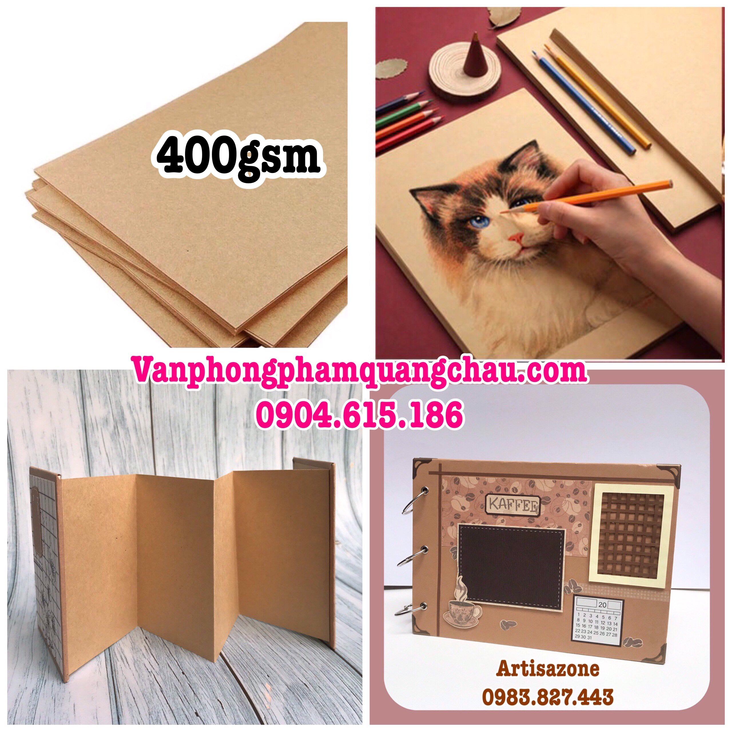 Giấy mỹ thuật màu nâu đỏ 400gsm (KT: 38cm x 52cm) - Set 06 tờ_GHM34