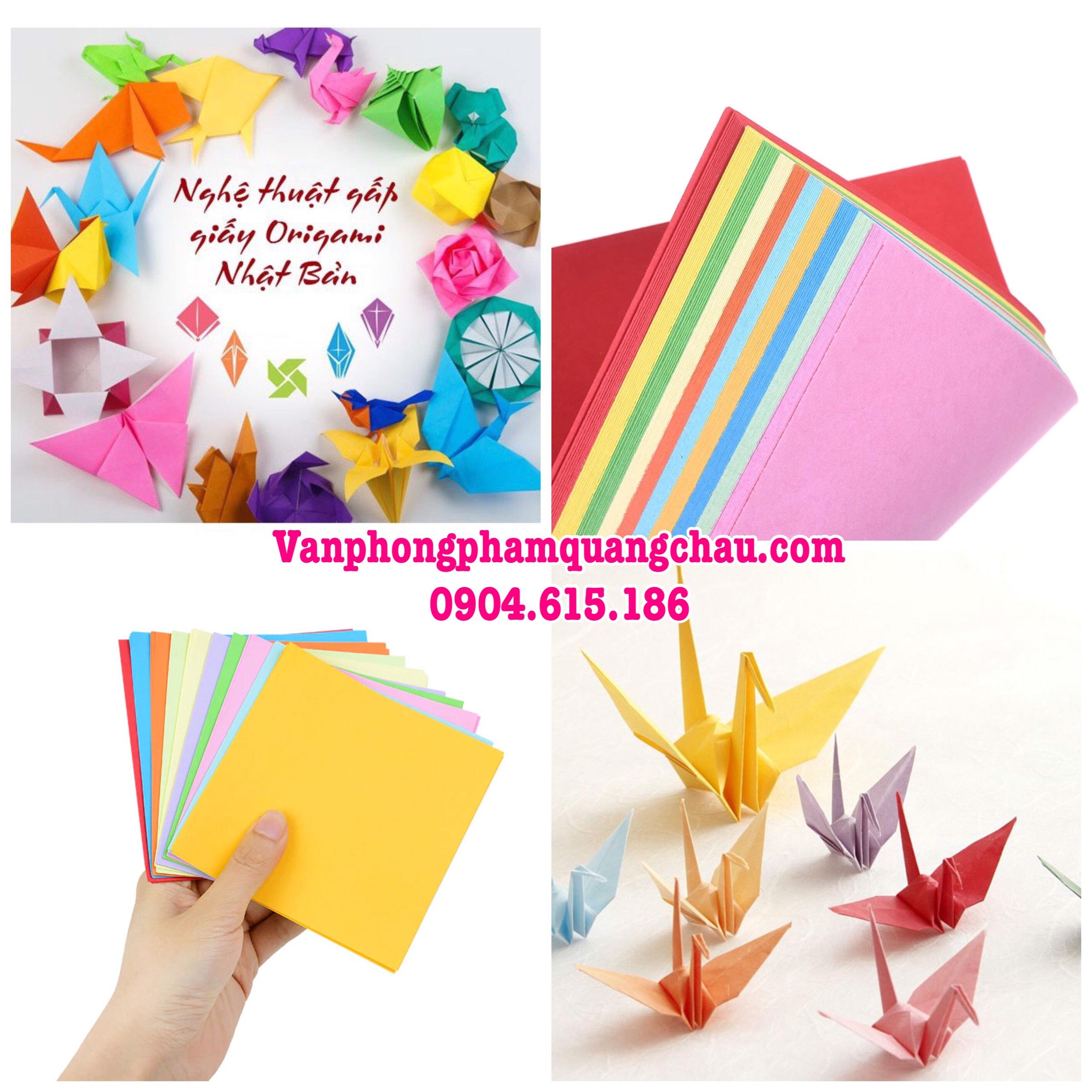 Giấy Origami 2 mặt 1 màu - 100 tờ  (size 14,7cm x 14,7cm)_ORI08