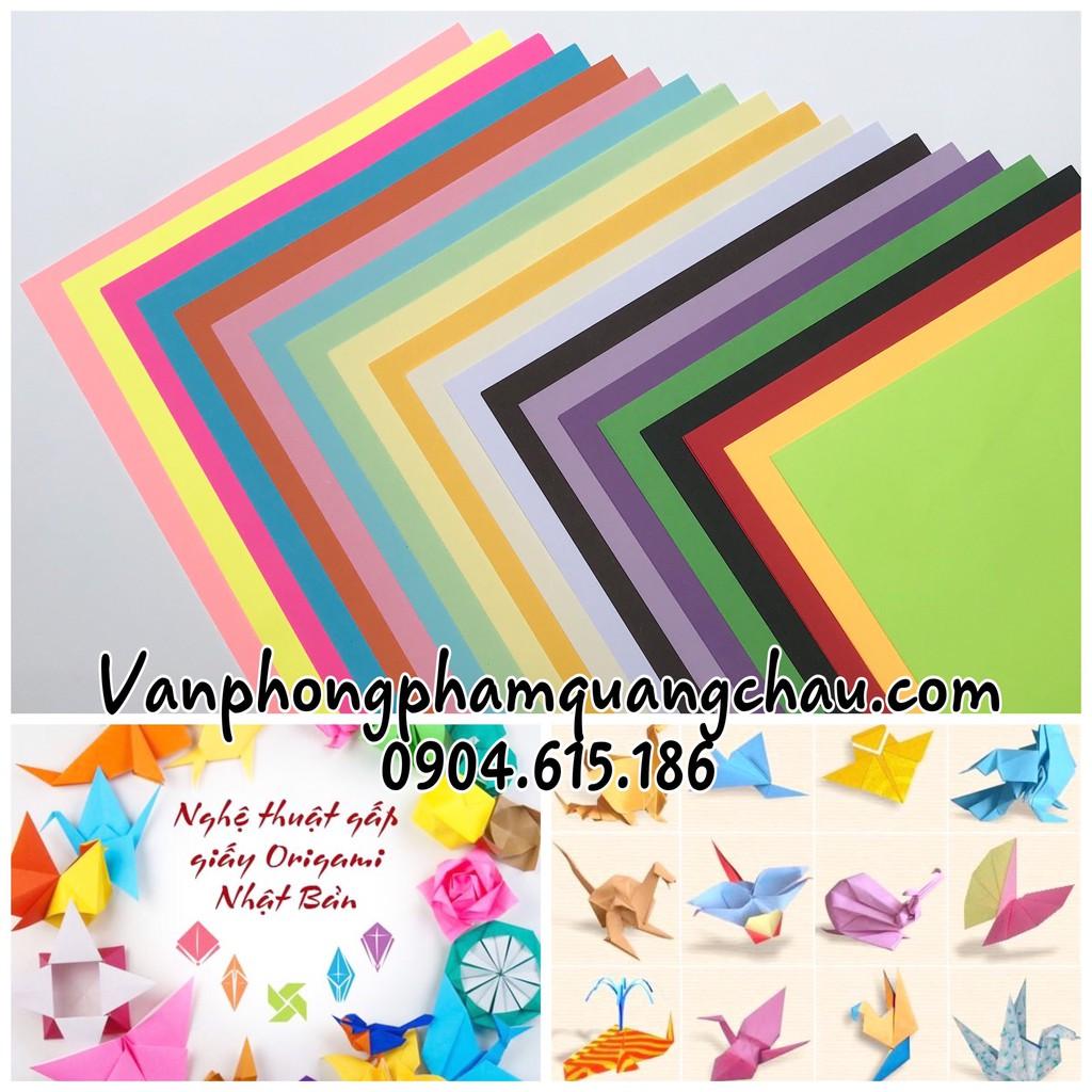Giấy Origami nhiều màu; khổ A4 - (Tập 100 tờ; 10 màu hoặc 100 tờ 20 màu)_ORI12