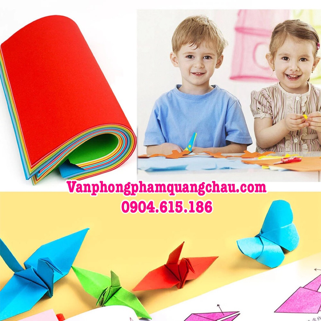 Giấy Origami 2 mặt 1 màu - 100 tờ (size 19,5cm x 19,5cm)_ORI09