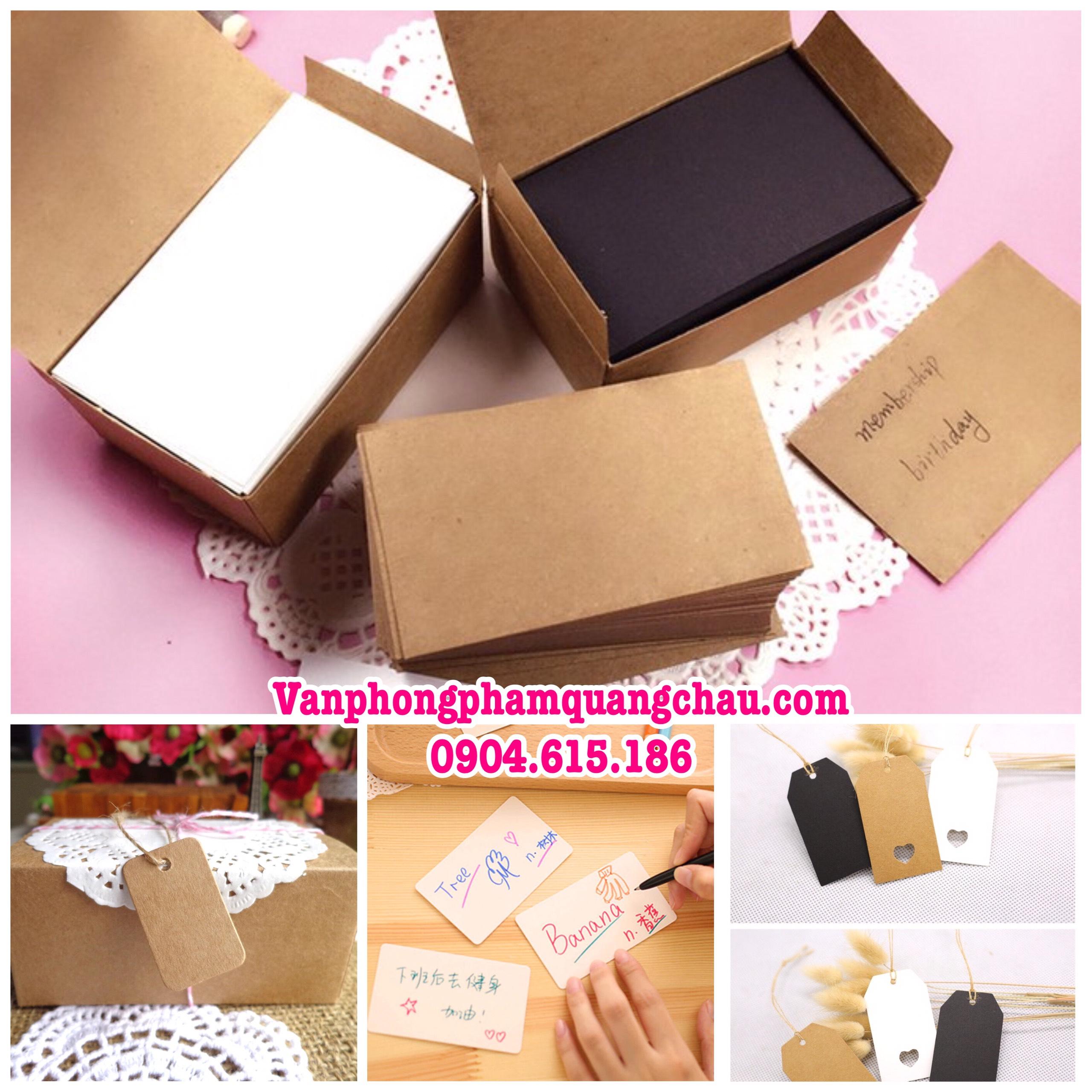 Giấy thẻ handmade - (Kích thước: 8,6cm x 5,2cm) - Hộp 80 tờ_GHM20