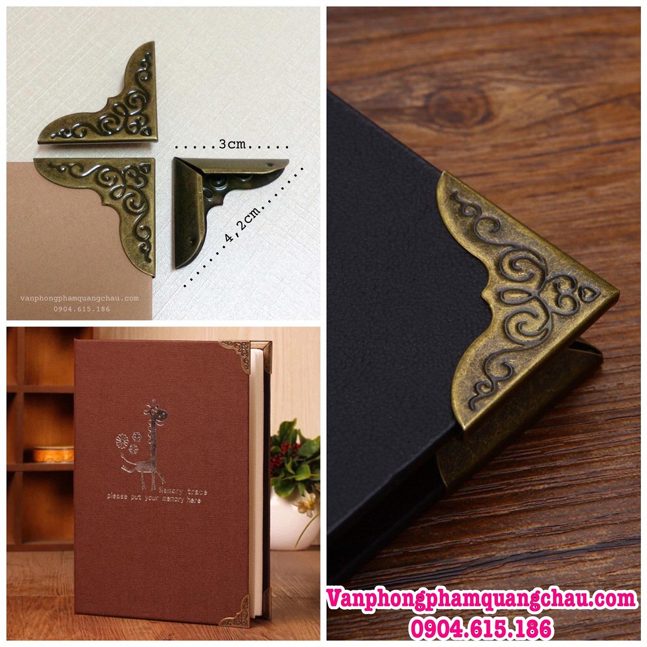 Bo góc scrapbook, album, sổ họa tiết màu đồng (Size đại) - Set 10 chiếc_PKM48