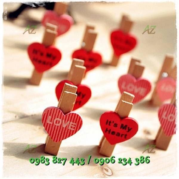 Kẹp gỗ tim my heart kèm dây_G02.33