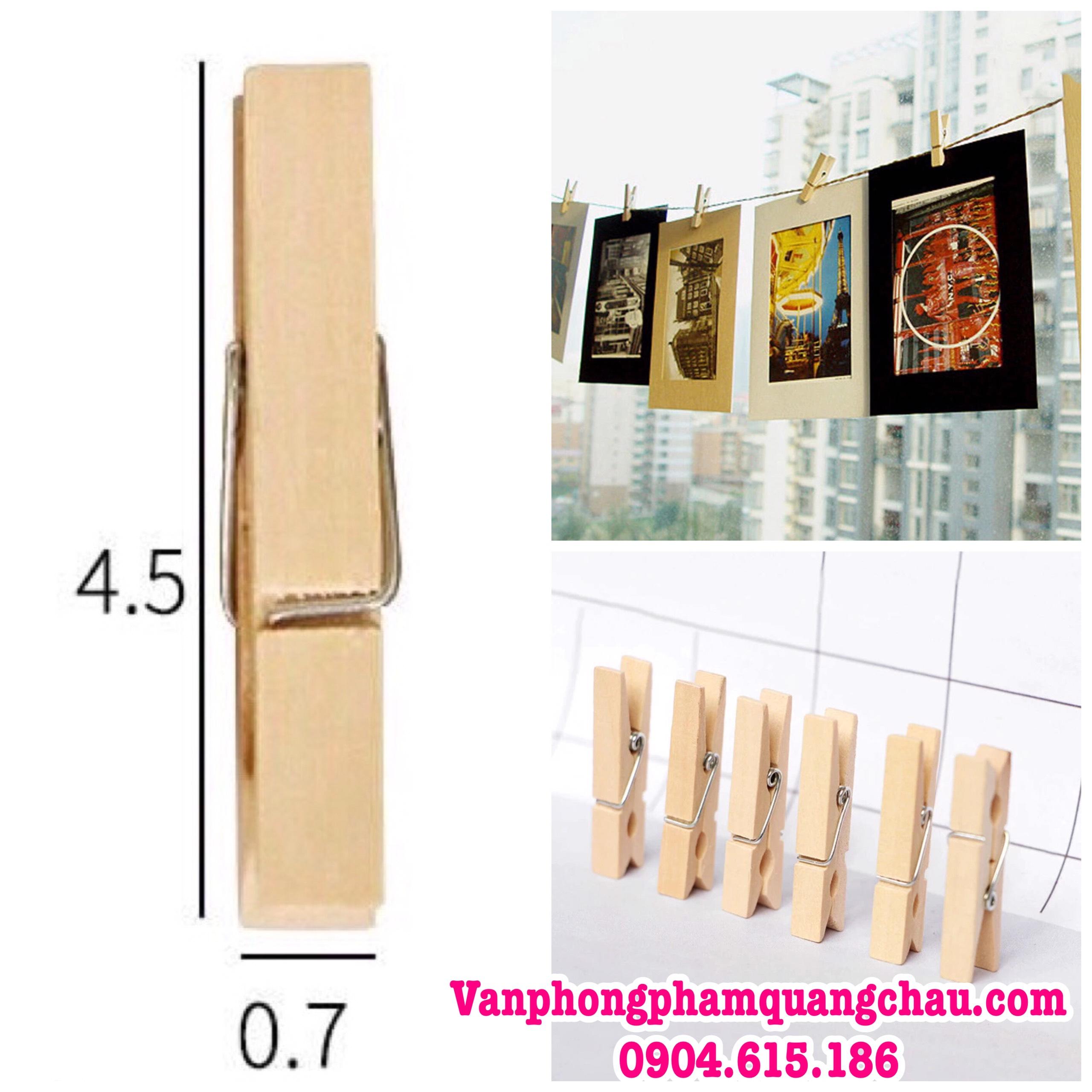Kẹp gỗ trơn handmade (size 4.5cm x 7mm) - Set 10 chiếc_G019