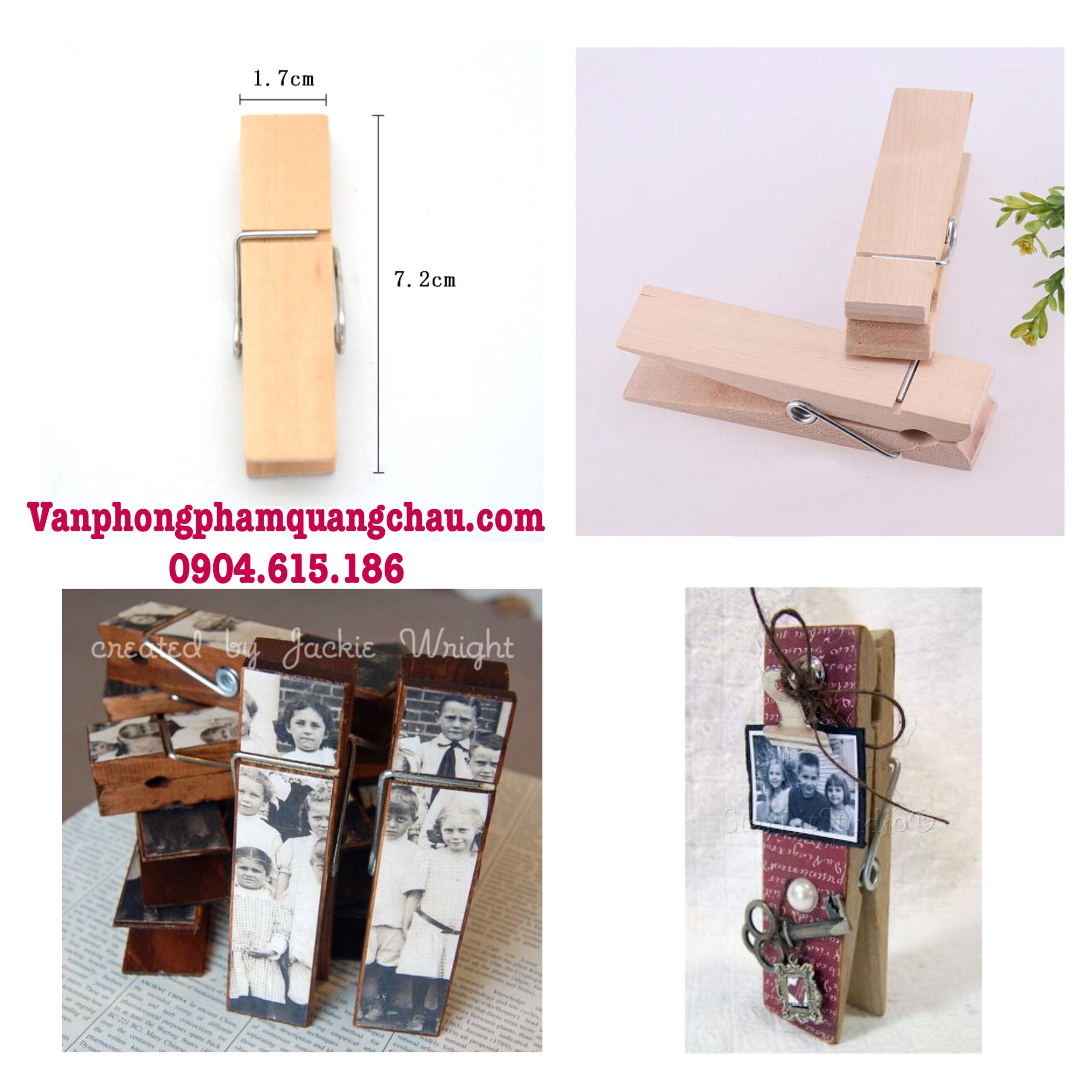 Kẹp gỗ trơn handmade size đại (1,7cm x 7,2cm)_G018
