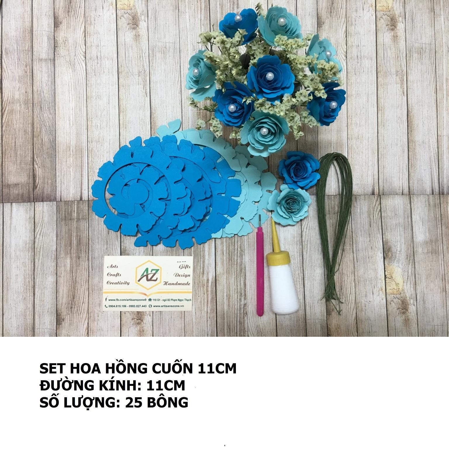 Bộ nguyên liệu làm hoa hồng cuốn 11cm_QC32