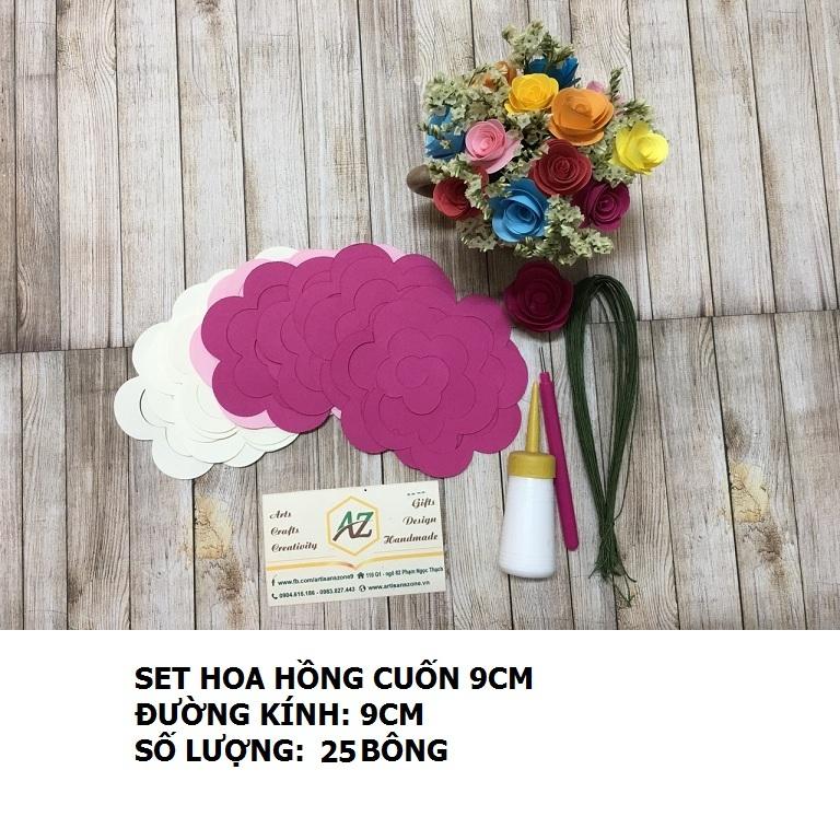 Bộ nguyên liệu làm hoa hông cuốn 9cm (25 bông)_QC33