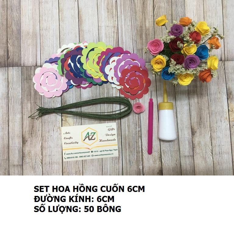 Bộ nguyên liệu làm hoa hồng cuốn 6cm (50 bông)_QC33