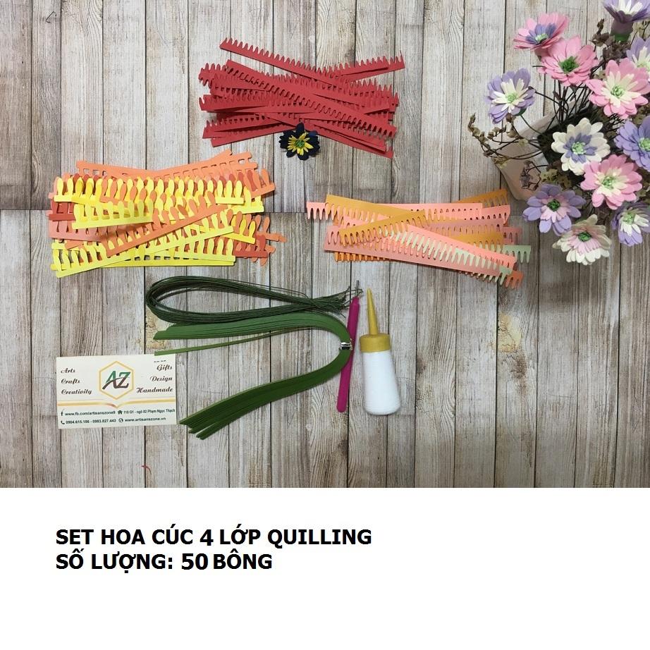 Bộ nguyên liệu làm hoa cúc 04 lớp quilling (50 bông)_QC35.1