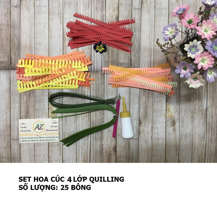 Bộ nguyên liệu làm hoa cúc 04 lớp quilling (25 bông)_QC35