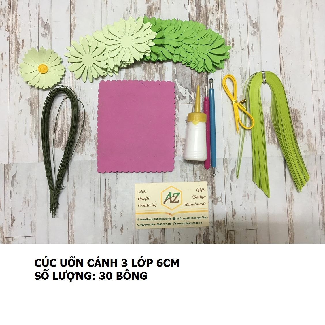 Bộ nguyên liệu làm hoa cúc 03 lớp 6cm (30 bông)_QC37