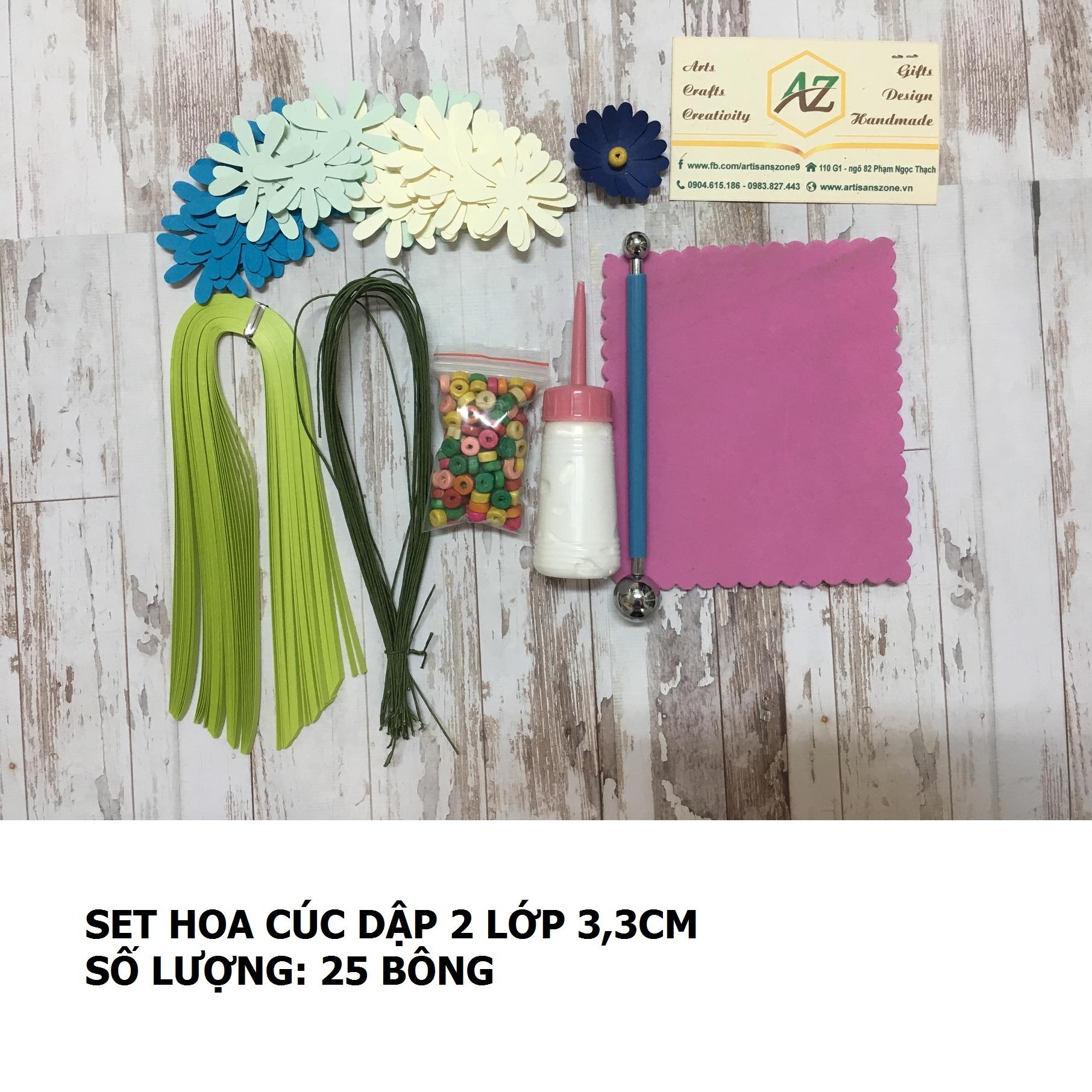 Bộ nguyên liệu làm hoa cúc họa mi 3,3cm (25 bông)_QC39
