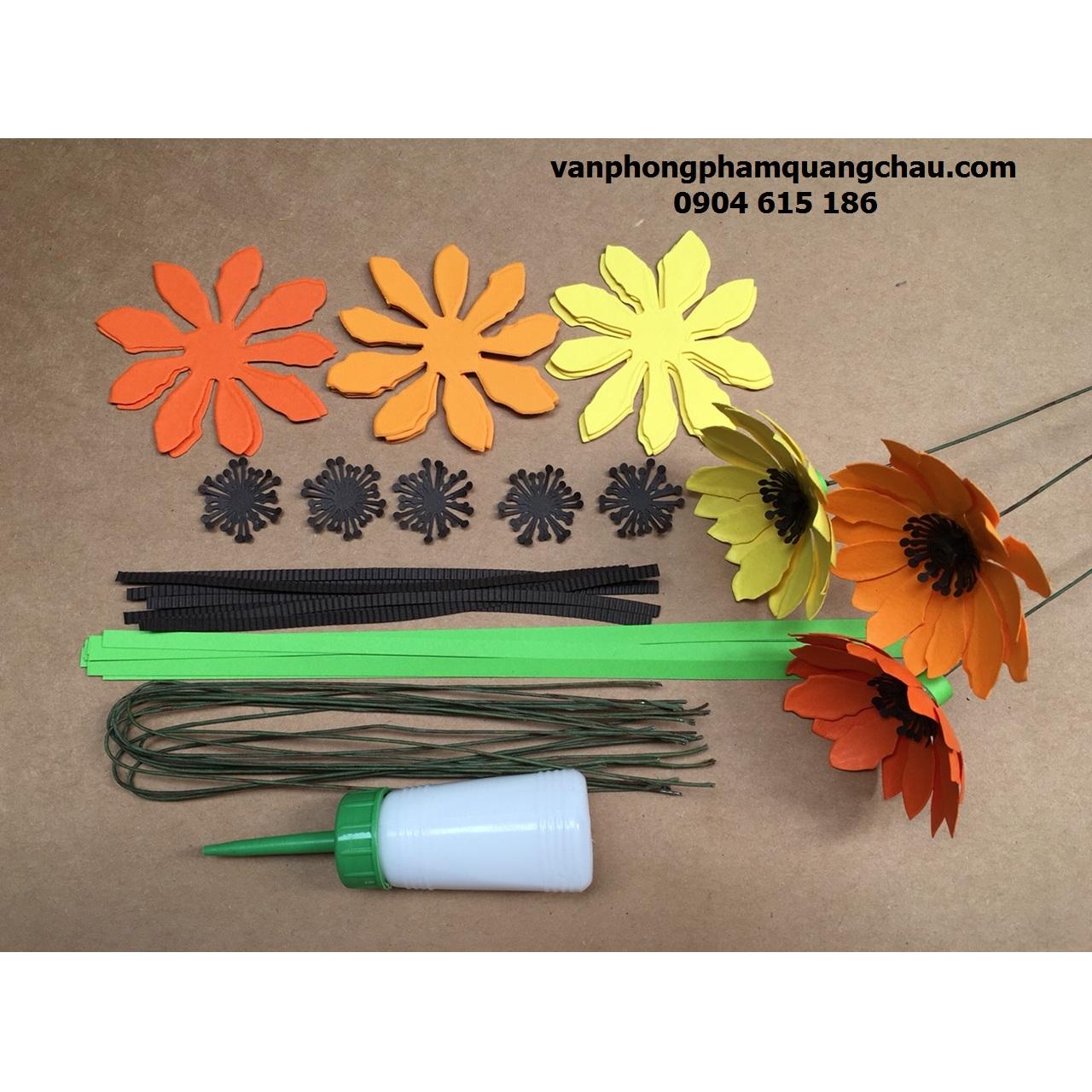 Set nguyên liệu làm hoa cúc 02 lớp 9cm (10 bông)_QC46