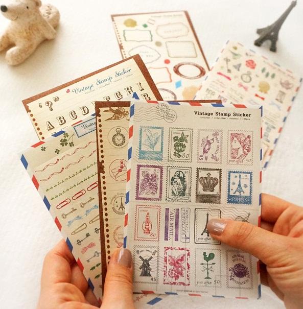 Sticker vintage stamp (bộ 06 tờ)_S157