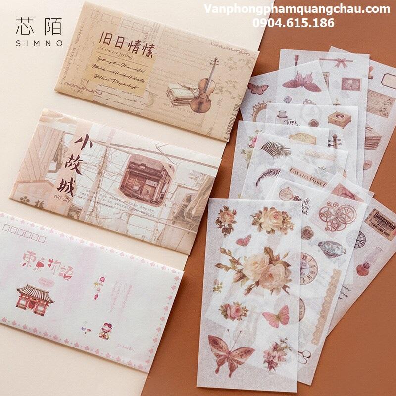Sticker Washi phong thư  - Túi 10 miếng (size 9cm x 15cm)_S196
