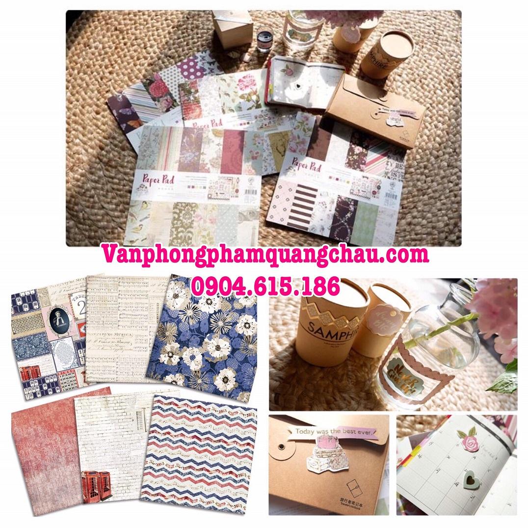 PAPER PACK - Giấy họa tiết trang trí Scrapbook, thiệp, lovebox (30cm x 30cm) - 01 quyển_GHM123