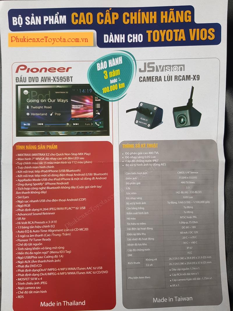 Thống số kỹ thuật màn hình DVD Pioneer AVH-X595BT cao cấp trên xe Vios G 2019