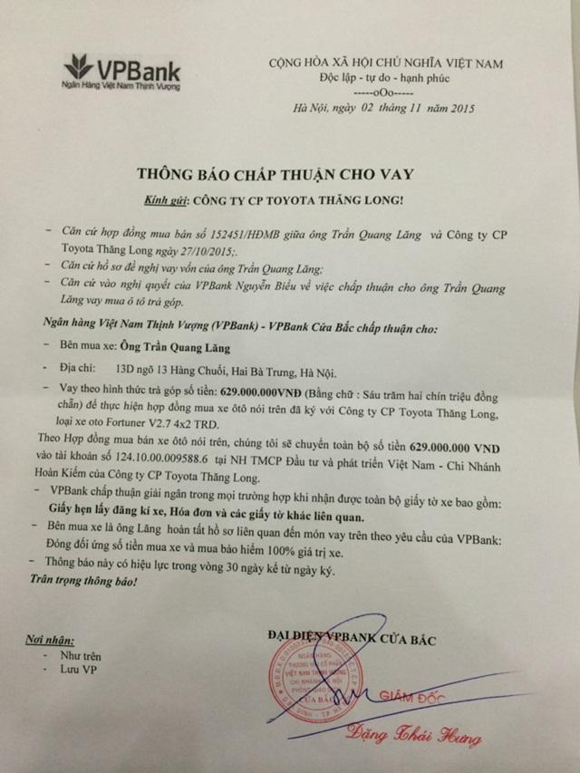 Mẫu cam kết của Vpbank gửi Toyota Thăng Long
