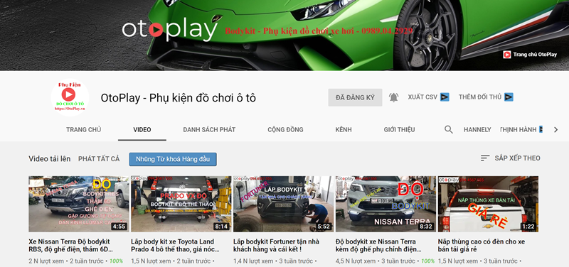 Kênh video Youtube của Otoplay