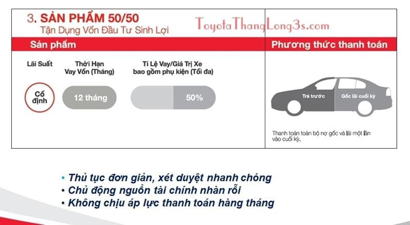 Gói 50/50 là gói vay chỉ duy nhất ngân hàng tài chính Toyota áp dụng.