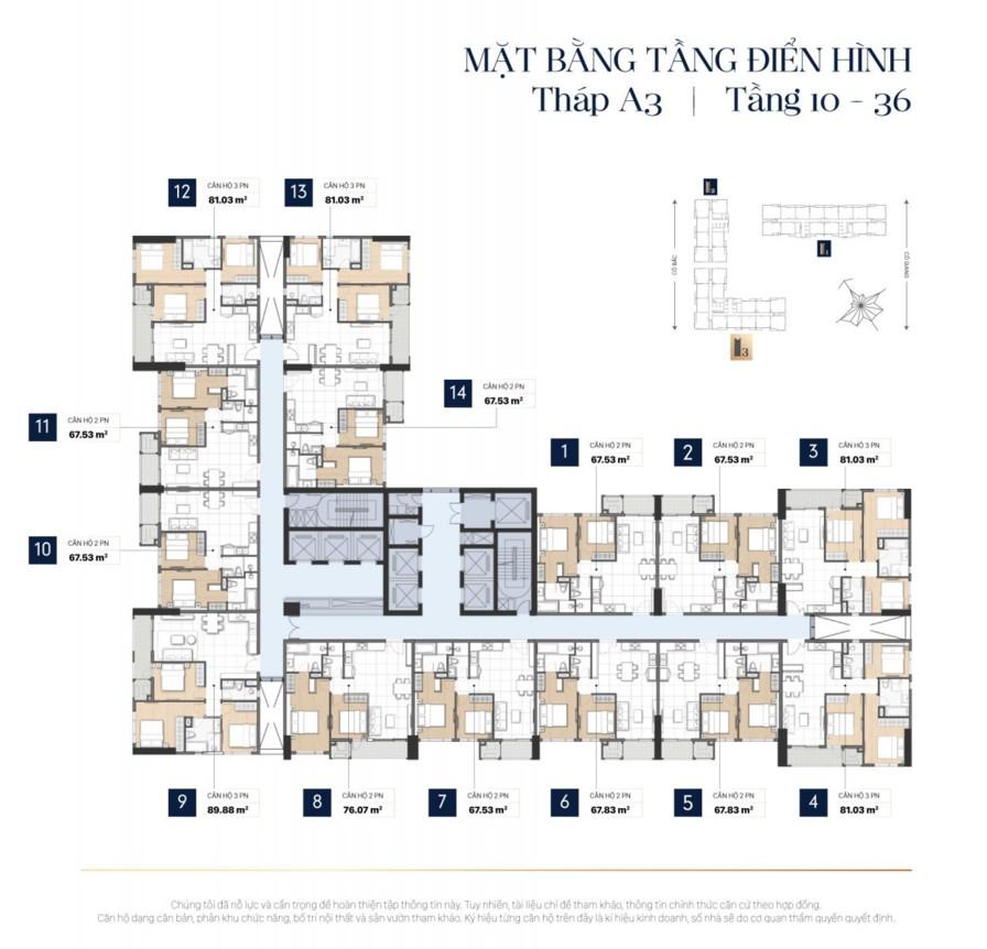 Mặt bằng tầng điển hình căn hộ The Grand Manhattan