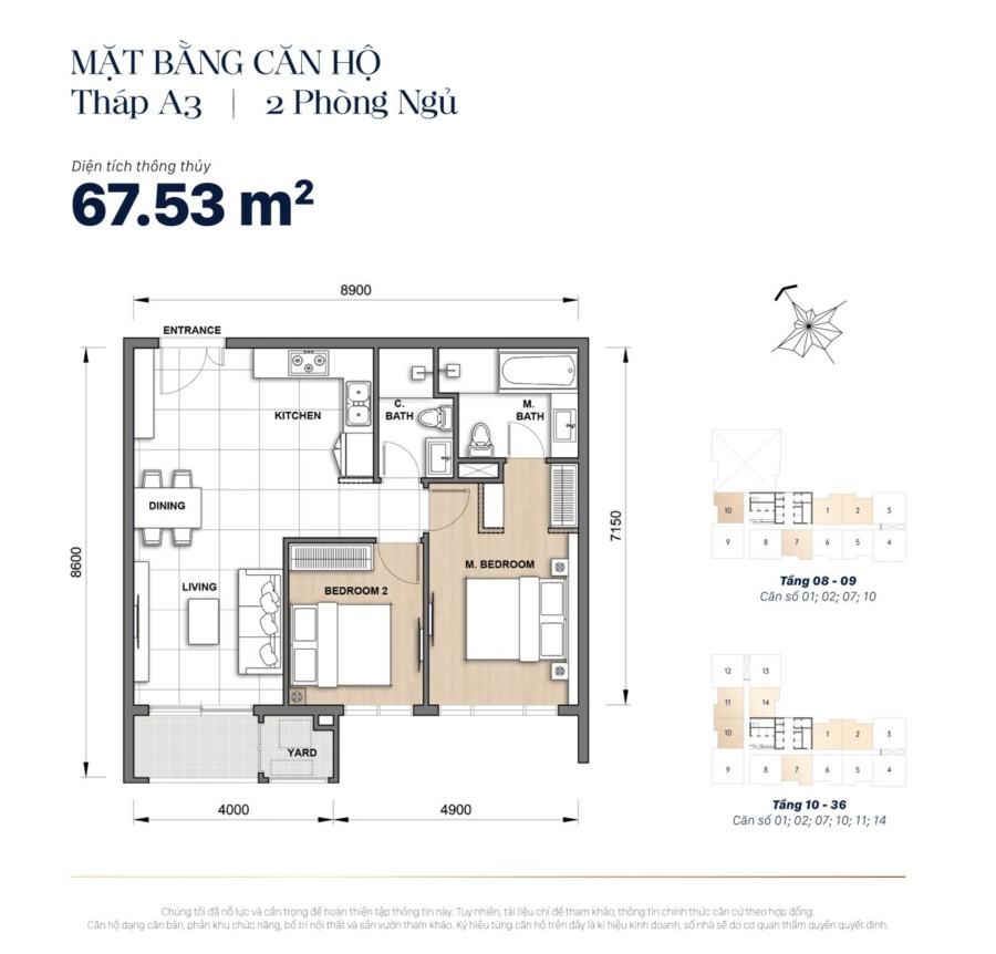 Mặt bằng căn hộ The Grand Manhattan 67m2