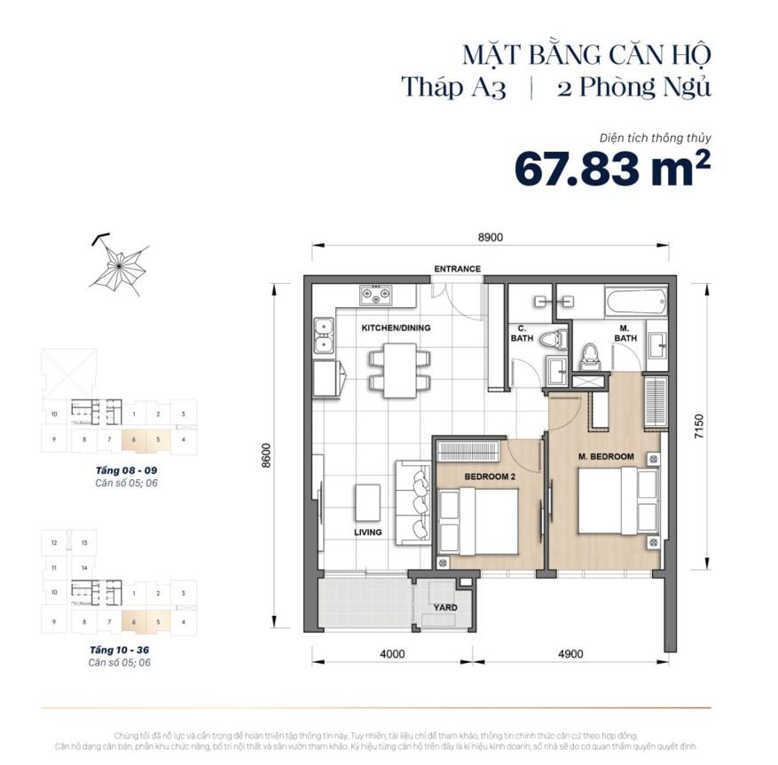 Mặt bằng căn hộ The Grand Manhattan 68m2