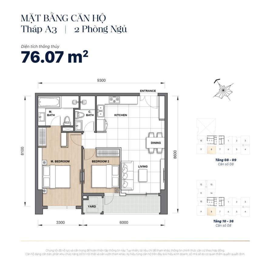 Mặt bằng căn hộ The Grand Manhattan 76m2