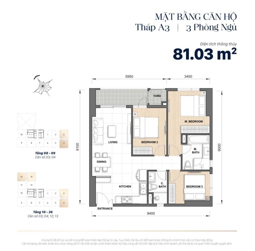 Mặt bằng căn hộ The Grand Manhattan 81m2