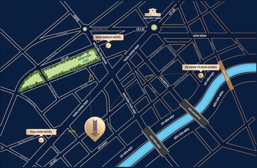 Vị trí căn hộ The Grand Manhattan Quận 1