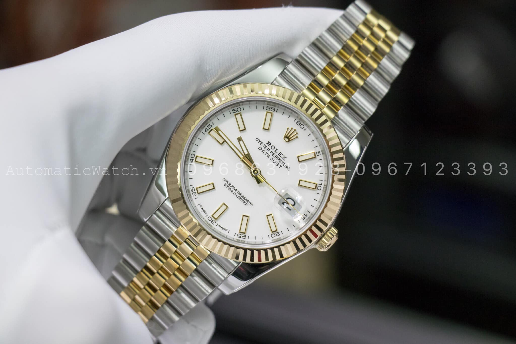 Đồng Hồ Rolex Datejust Replica 41 White Dial Steel and 18K Yellow Gold Jubilee 126333