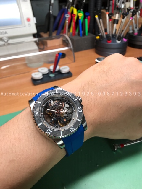 Rolex Submariner Andrea Pirlo Skeleton + Dây Rubber B Blue