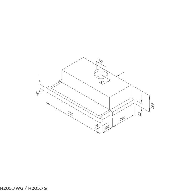 Máy hút mùi âm tủ MALLOCA H205.7 WG