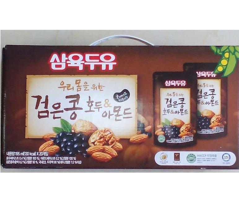 Nước đậu đen, hạnh nhân, óc chó Hàn Quốc 195ml