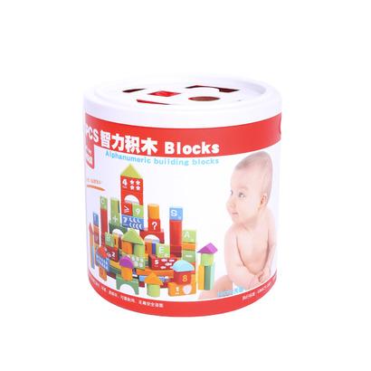 Bộ đồ chơi xếp hình khối gỗ 100 chi tiết