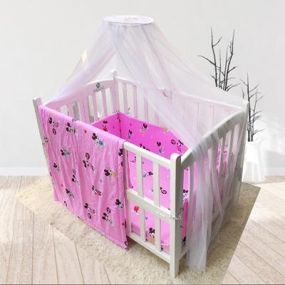 Combo cũi giường sơn trắng ( Chuột Mickey hồng )