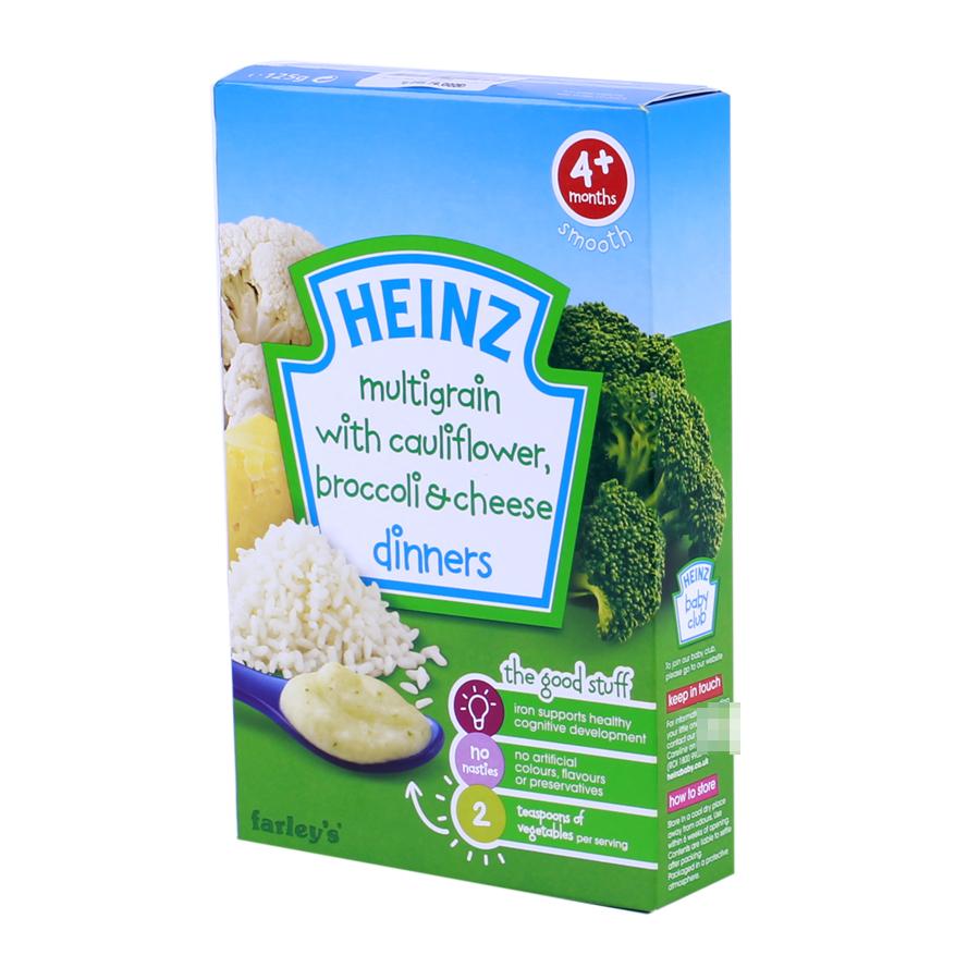 Bột ăn dặm Heinz ngũ cốc , súp lơ, phô mai 250g 4M+