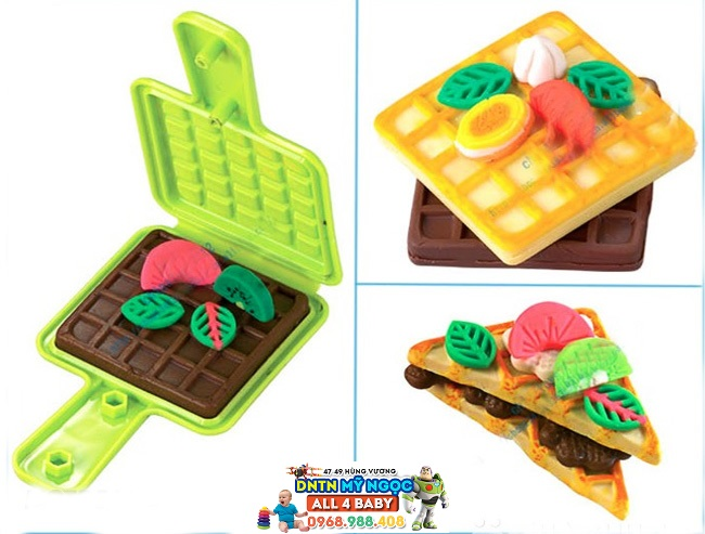 Bộ đồ chơi đất nặn Waffles kèm khuôn làm bánh