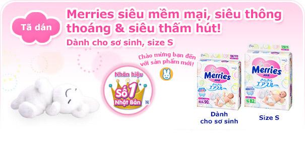 Tã dán Merries cho trẻ sơ sinh- Newborn/ size S