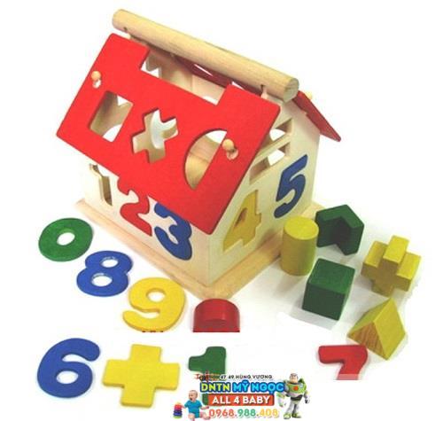 Đồ chơi gỗ Veesano - Nhà thả số & hình khối VM14