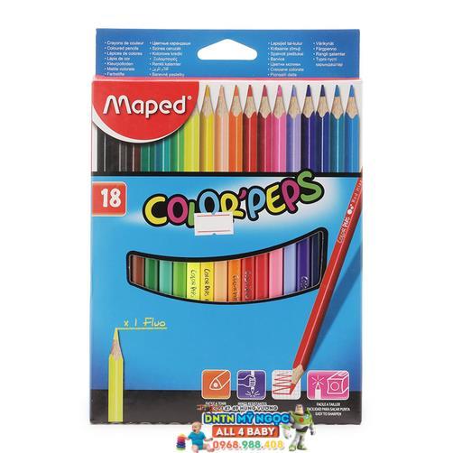Bút chì màu gỗ 18 màu Maped